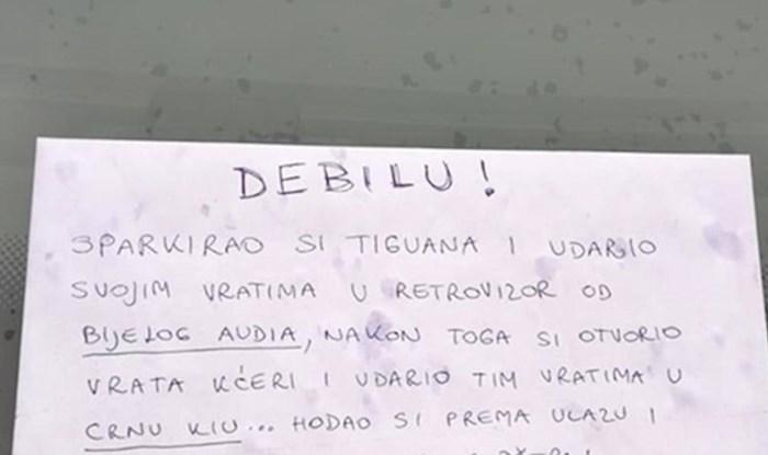 Netko je ostavio genijalnu poruku čovjeku koji je udarao tuđe aute