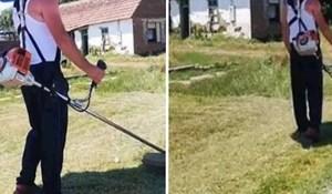 Lik je pronašao urnebesan način kako pokositi travu i kad je vani pakleno vruće; ovo treba isprobati