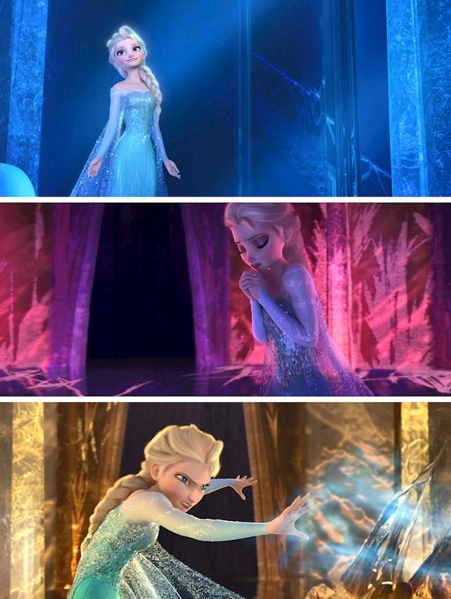 #12 U  filmu Frozen (2013), Elsin dvorac mijenja boju prema njenim emocijama. Plava simbolizira njezinu sreću, crvena je strah, a žuta je bijes.