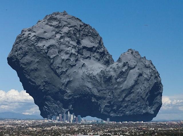 Ovako je umjetnik zamislio Rosettinu kometu i usporedio je s centrom Los Angelesa. Podsjeća li vas na filmove o kraju svijeta?