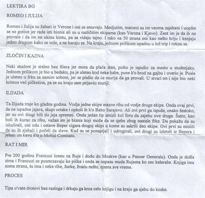 Jedan je srpski učenik na urnebesan način prepričao lektire za srednju školu