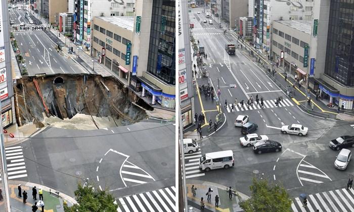 Japanci u samo dva dana sanirali OGROMNU rupu u gradu!