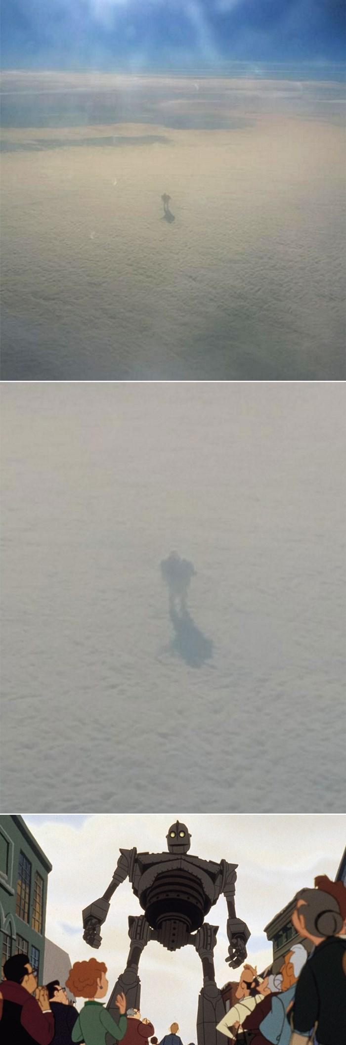 """ŠTO VIDITE NA SLICI? Putnik iz aviona snimio misteriozno """"divovsko biće"""" koje hoda po oblacima"""
