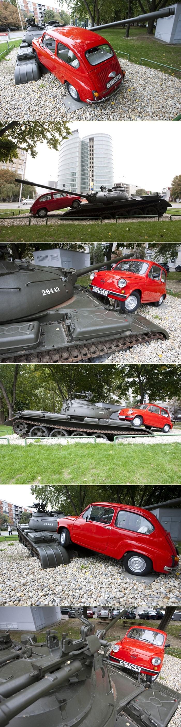 Crveni fićo opet gazi tenk