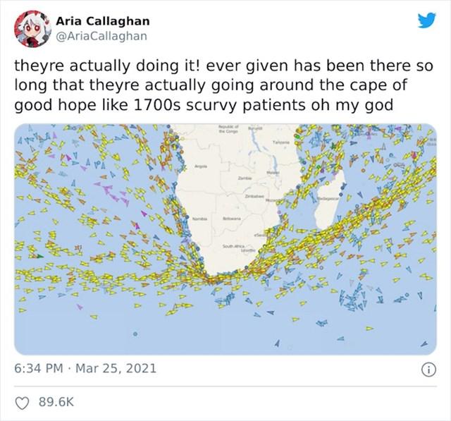 Slika brodova koji su krenuli na put oko Afrike dok se ne raščisti kanal