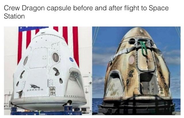 Kapsula prije i poslije leta do svemirske stanice
