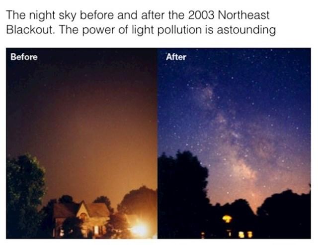 Fotka noćnog neba prije i poslije nestanka struje, svjetlosno zagađenje je zaista značajno, tek sad vidimo