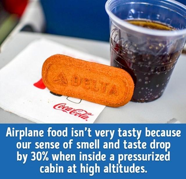 Hrana u avionima nije toliko ukusna jer naša osjetila okusa i njuha padaju za 30% kada se nalazimo u prostoru pod visokim tlakom na velikoj nadmorskoj visini