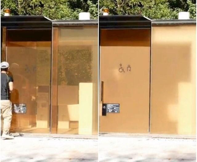 Zidovi na ovom javnom WC-u su prozirni, a čim netko uđe postanu zamućeni