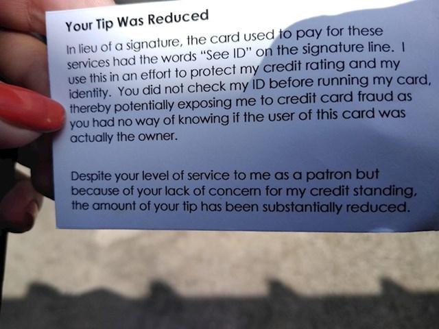 Tip u novčaniku ima pripremljenu karticu o smanjenom bakšišu