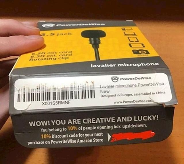 """""""Ovaj proizvođač vas nagrađuje ako kutiju otvarate s donje strane, dolje piše kupon za 10% popusta kojeg mnogi ni ne primijete."""""""