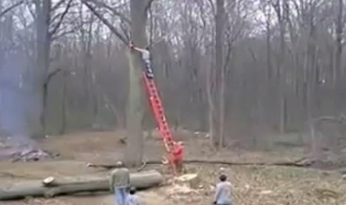 Pilao je granu motornom pilom na visini od 10 metara kada ga je odbacila na pod s pilom u ruci