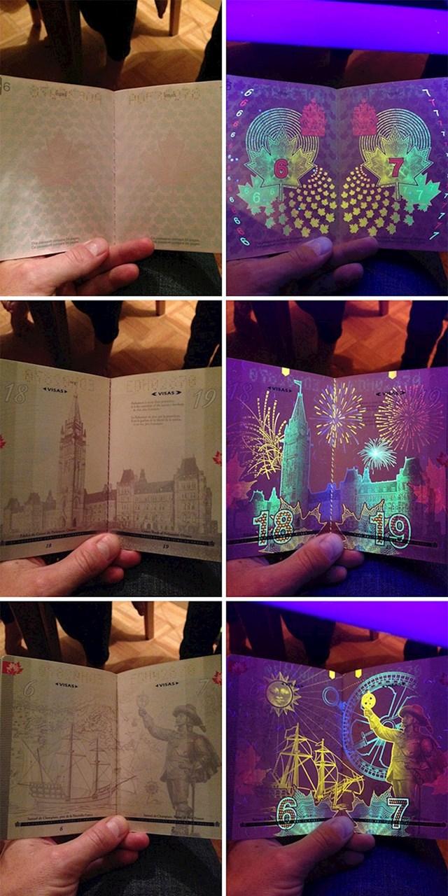 Kanadska putovnica kada se drži pod UV svjetlom