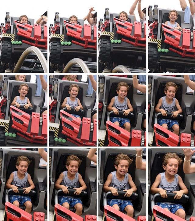 NA licu ovog dječaka se mogu vidjeti sve faze, od početne mirnoće i neznanja do jezivog straha