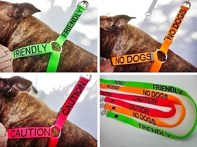 Ogrlice za psa na kojima piše može li mu se prići ili možda treba biti oprezan pored njega, ili možda ne želi druge pse u blizini