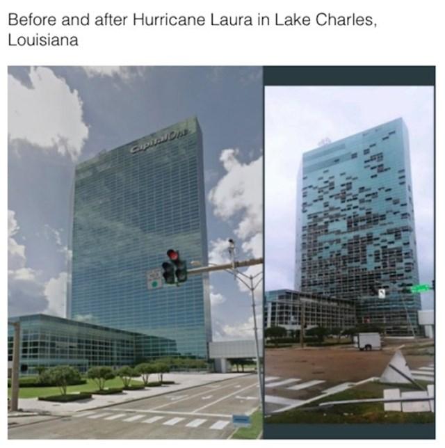 Zgrada prije i poslije uragana