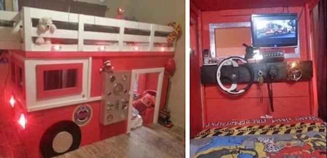 """""""Moj sin želi biti vatrogasac. Napravio sam mu krevet koji izgleda kao vatrogasno vozilo."""""""