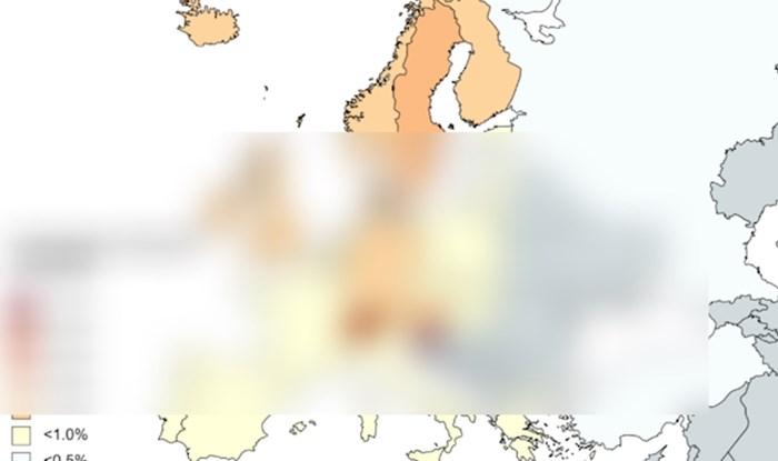 Mapa pokazuje postotak ljudi u europskim državama koji imaju doktorat. Iznenadit će vas Hrvatska