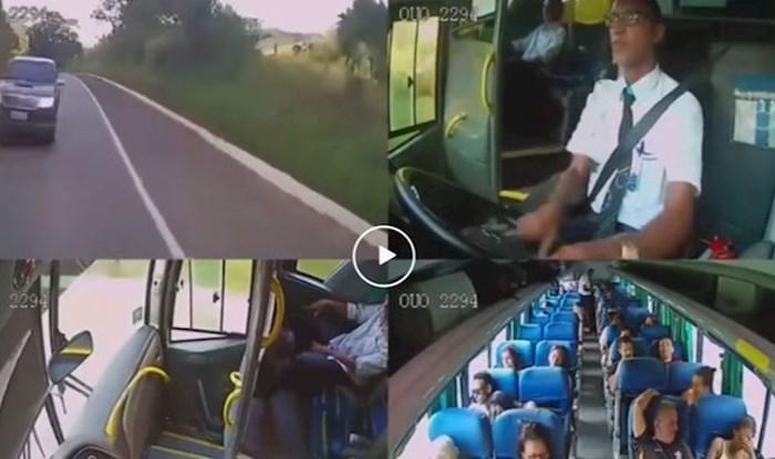 Vozač autobusa herojski izbjegao frontalni sudar, pogledajte njegovu reakciju