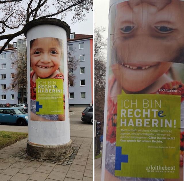 S lijeve strane je poster kakav bi trebao biti, a s desne kakav je zalijepljen