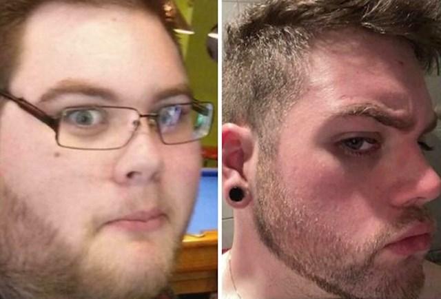 19 god vs 25 god, 85 kilograma manje, nisam ni znao da mi lice ok izgleda ispod svega toga što sam nosio, drago mi je da sam poradio na sebi