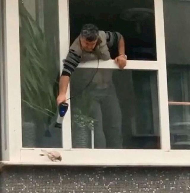 Ovaj čovjek fenom pokušava ugrijati goluba koji se skoro na smrt smrzao