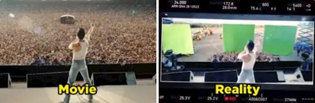 U filmu Bohemian Rhapsody glavni glumac pjeva na praznoj pozornici, publike nema