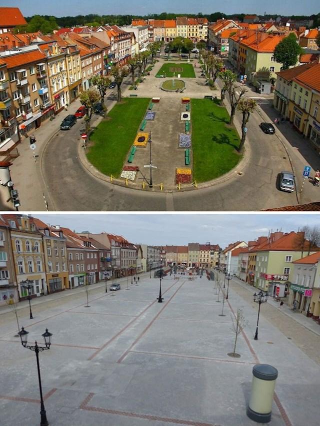 Gradski trg u Bartoszyceu (Poljska) prije i poslije