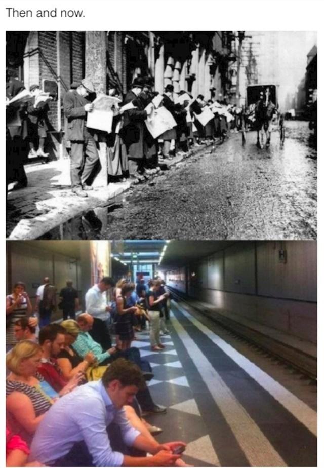 Ljudi čekaju prijevoz, prošlost i sadašnjost