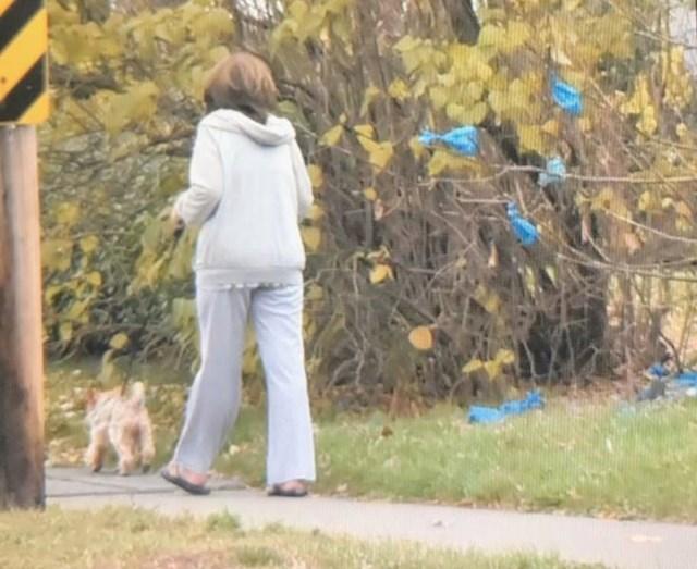 13. Ova žena svaki dan šeta svog psa i baci vrećicu s njegovim izmetom na isto mjesto