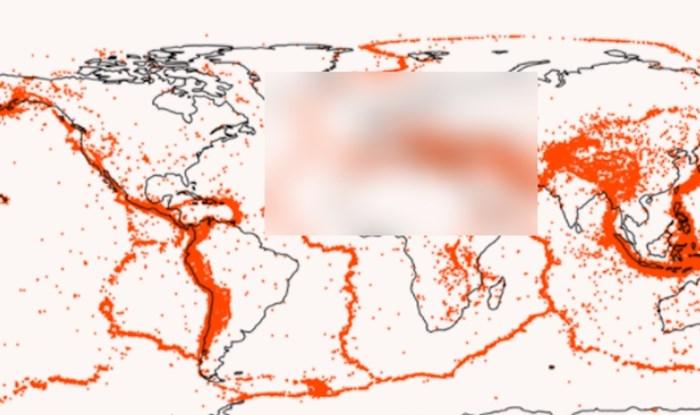 Mapa pokazuje lokacije svih potresa većih od 5 stupnjeva ikad. Zanimljiva je pozicija Hrvatske