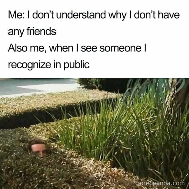 Ja: Ne razumijem zašto nemam prijatelja. Ja kad vidim nekog poznatog vani: