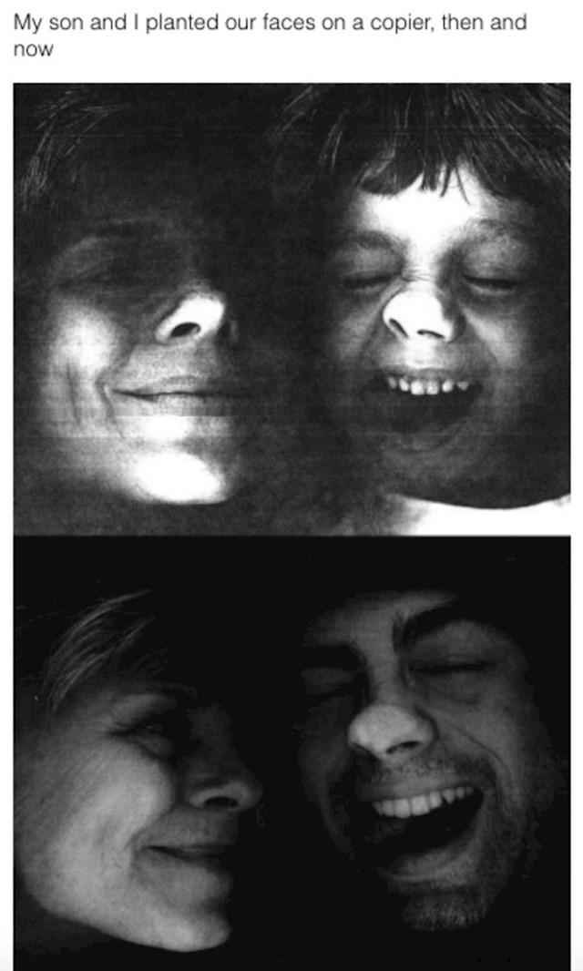 Ja i moj sin na fotokopirnom aparatu, kad je bio mali i sad