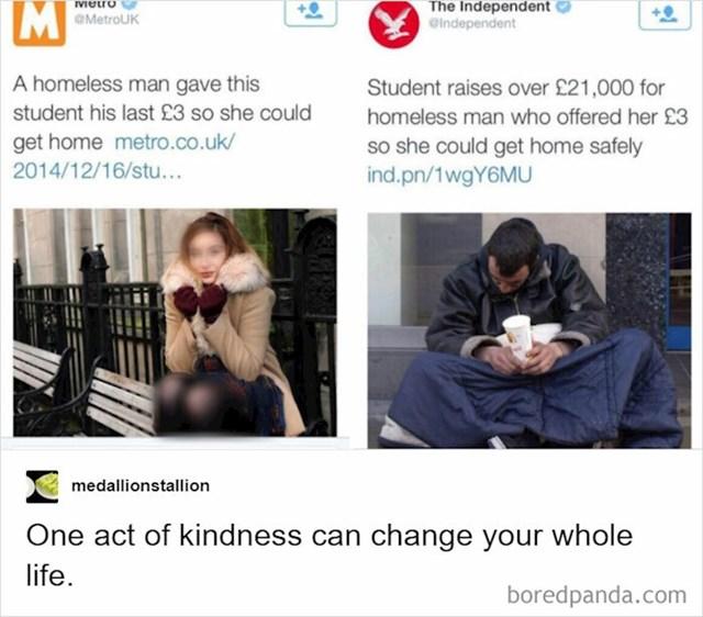Beskućnik je dao studentici 3 funte za kartu za metro kako bi se sigurno vratila kući, a ona je prikupila 21 tisuću funti za njega.