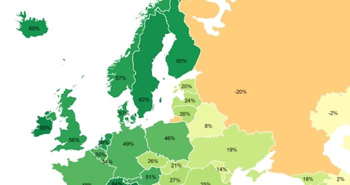 Mapa pokazuje koliko Amerikanci vole pojedine europske države. Pogledajte kako stoji Hrvatska