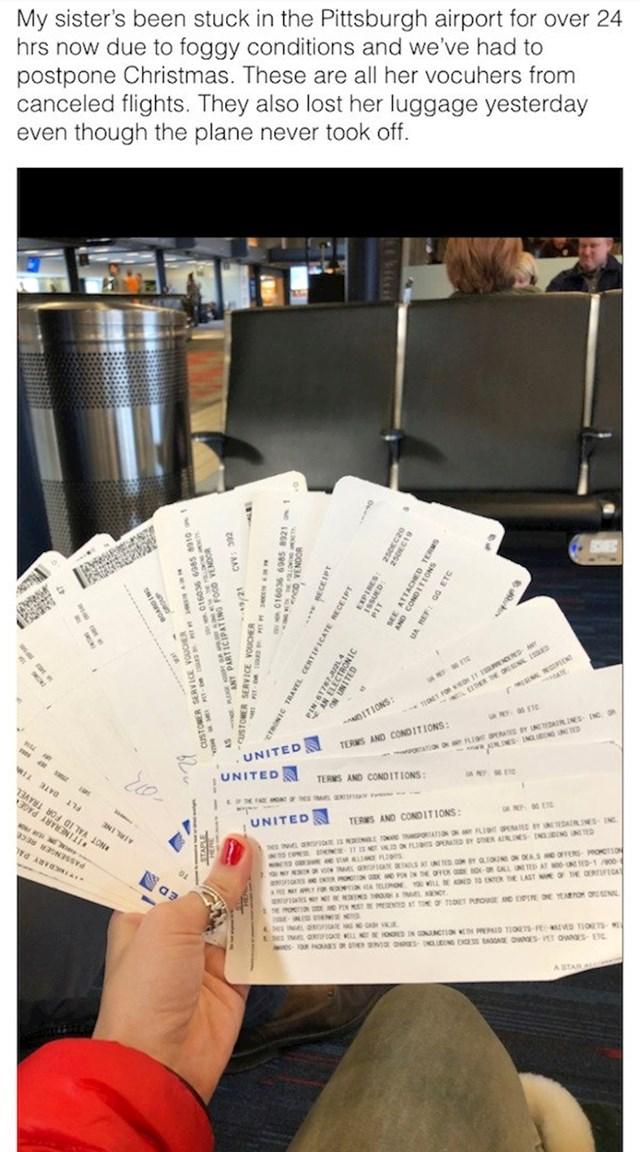 Sestra ej zapea na aerodromu više od 24 sata zbog magle. Ovo su svi vaučeri otkazanih letova, a i prtljagu su joj izgubili i to na letu koji je otkazan