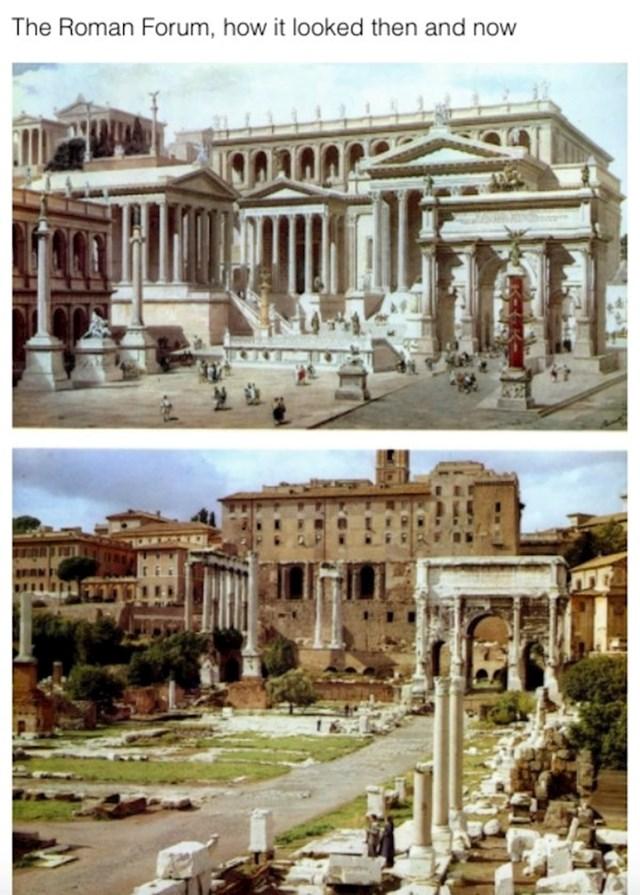 Rimski forum prije i sada