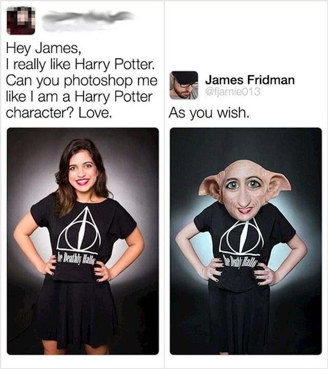 Hej James, obožavam Harryja Pottera, možeš li me učiniti dijelom ekipe?