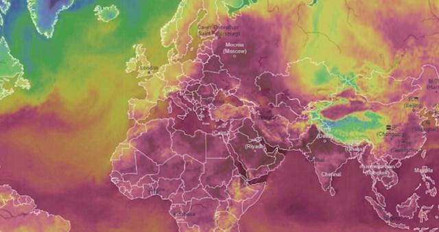 Tamno ljubičasta boja označava osjet temperature veći od 40 stupnjeva