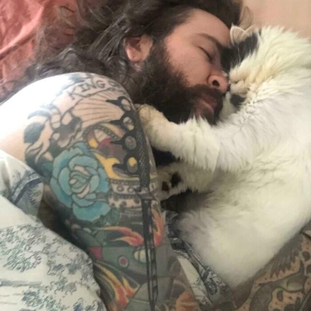 Curina mačka je opsjednuta sa mnom i svako jutro se ovako probudimo