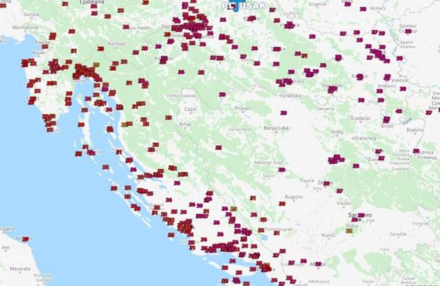 Maksimalne temperature u Hrvatskoj danas