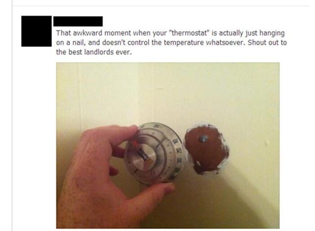 Termostat u ovom stanu je bio samo zakačen na čavao