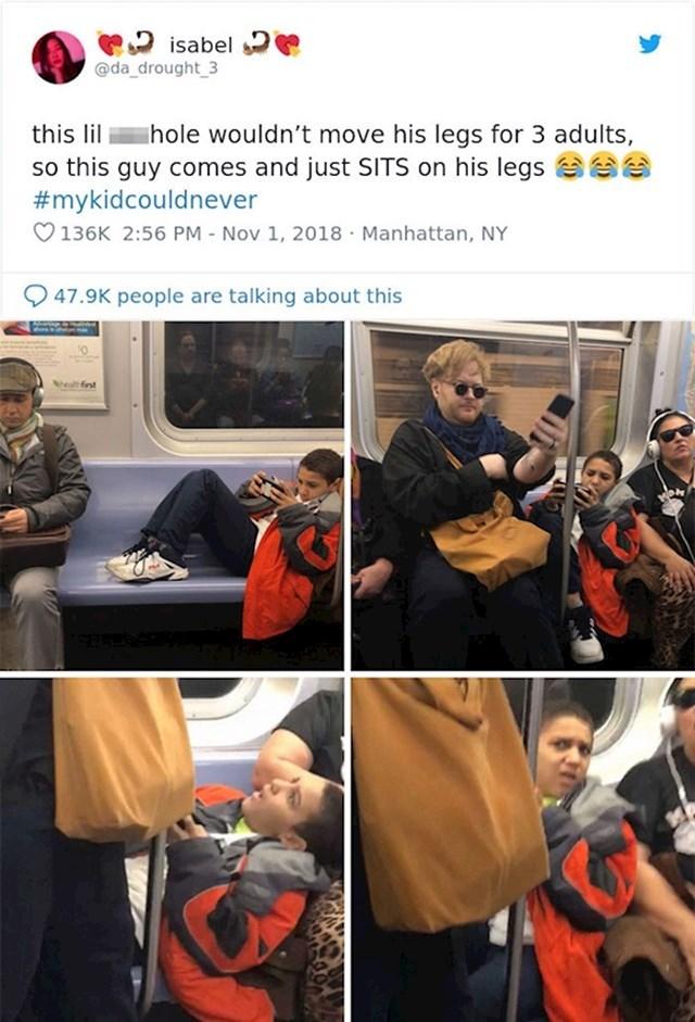 Ovaj momčić nije htio spustiti noge kako bi ostali putnici mogli sjesti pa je ovaj lik sjeo na njega