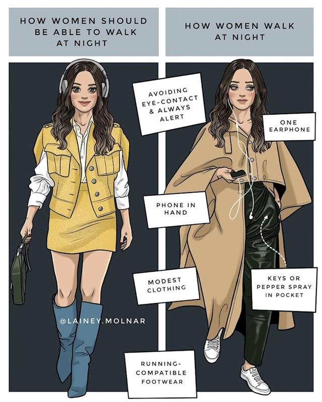 Kako bi žene trebale hodati same noću i kako zapravo hodaju