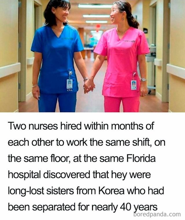 Ove dvije medicinske setre rade u Floridi, u istoj bolnici, na istom odjelu i u istoj smjeni da bi se ispostavilo da su davno izgubljene sestre, razdvojene prije 40 godina u Koreji.
