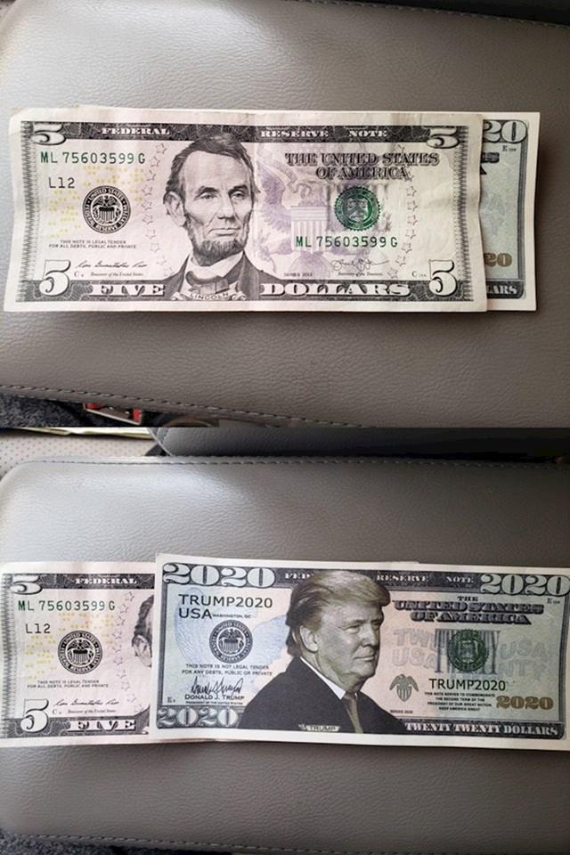 Pretvarao se da je ostavio 20 dolara napojnice. Zapravo je dao Trumpov promo letak
