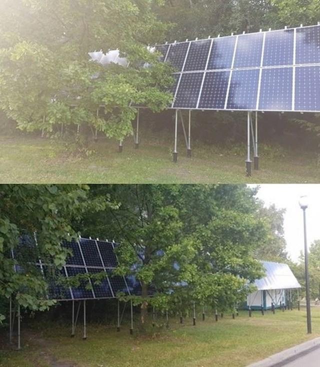 Ma da, bravo, postavite solarne panele u hlad da im ne bude vruće...