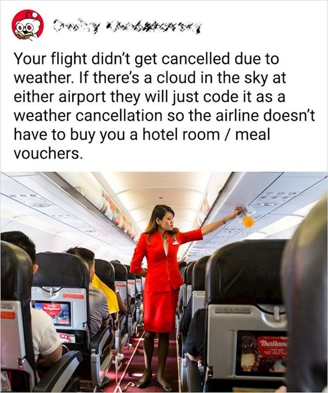 Let vam nije otkazan zbog vremenskih neprilika. Na to se aviokompanije samo izvuku da vam ne bi morali platiti hotelsku sobu