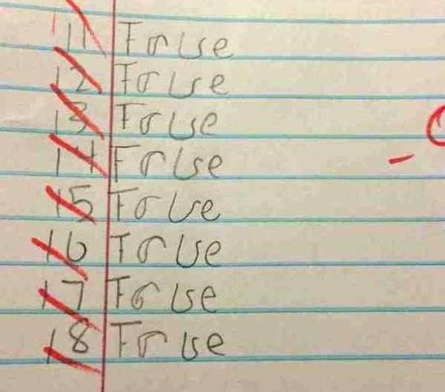 Snalažljiv klinac, false (netočno) u true (točno)