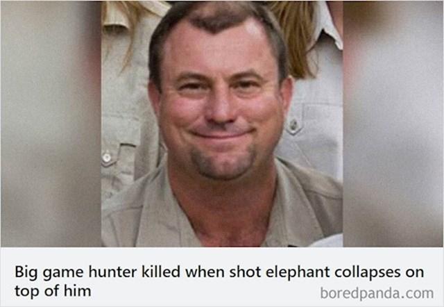 Ovaj lovac je poginuo nakon što se slon kojeg je upravo upucao srušio na njega